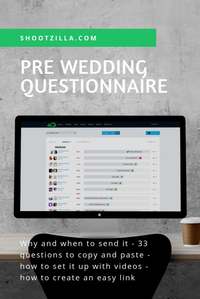 pre wedding questionnaire